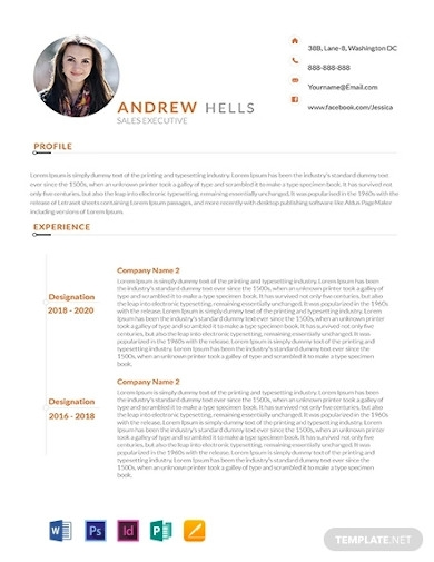 free sales executive resume template