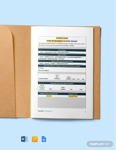 free sample construction incident report template