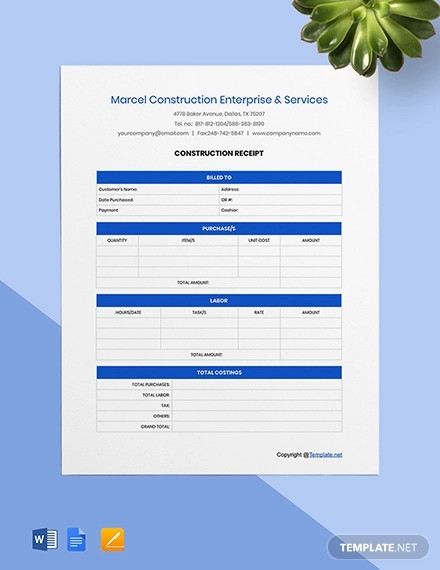 free sample construction receipt template