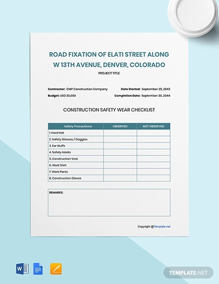 free simple construction checklist template