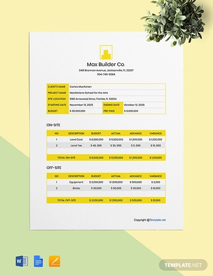 free simple construction project budget template