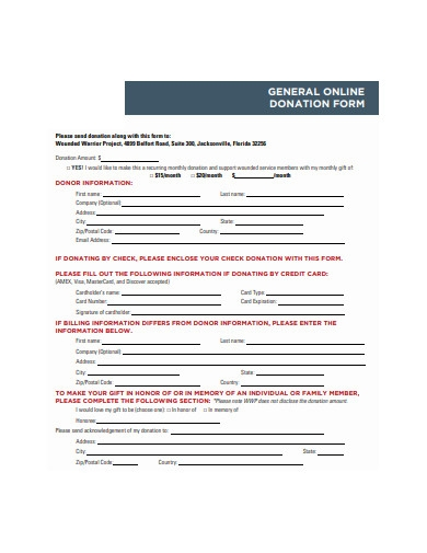 general online donation form