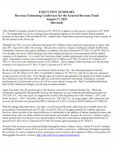 general revenue fund executive summary