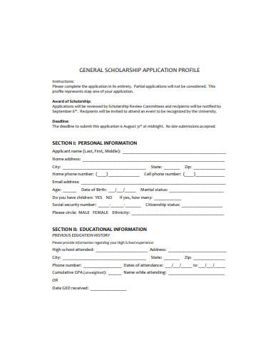 general scholarship application profile