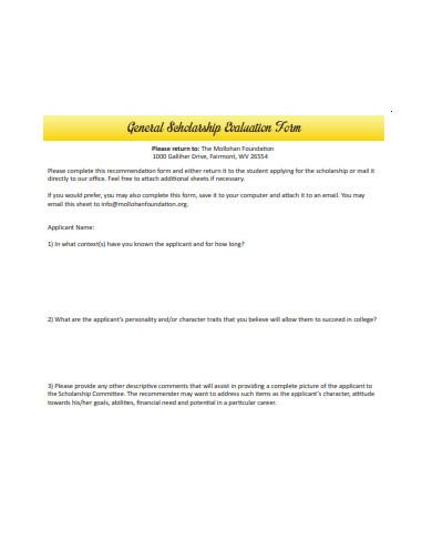 general scholarship evaluation form