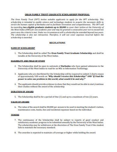 graduate scholarship proposal