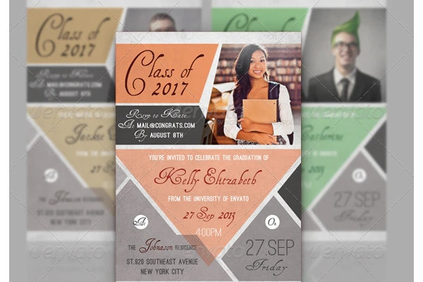 graduation announcement cheerful flyer