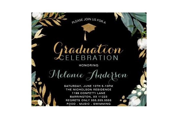 greenery wreath graduation dinner party invitation