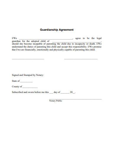 guardianship agreement example