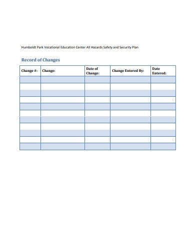 hazard safety and security plan