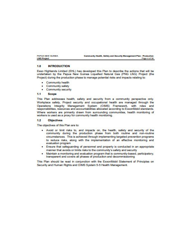 health safety and security management plan