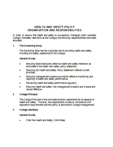 health and safety policy in doc