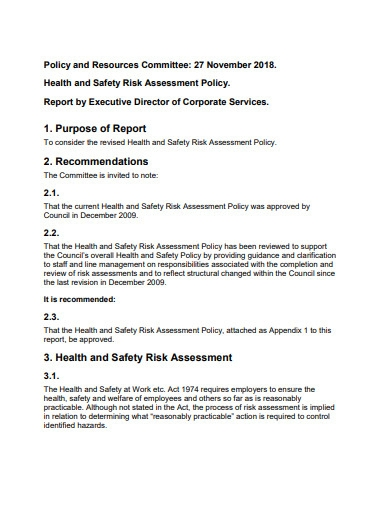 health and safety risk assessment policy format