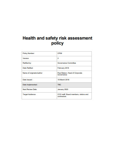 health and safety risk assessment policy