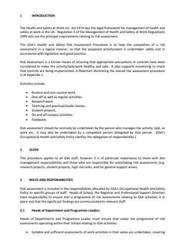 health and safety risk assessment procedure