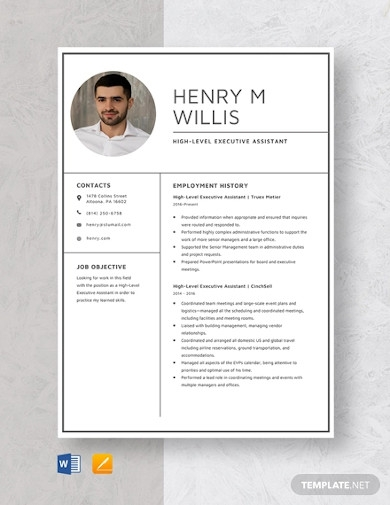 high level executive assistant resume template