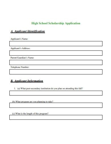 high school scholarship application example