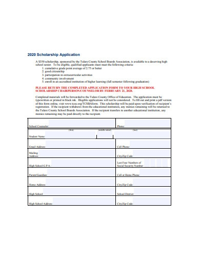 high school scholarship application format