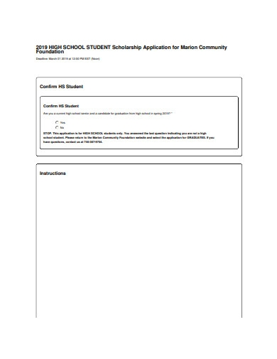 high school student scholarship application