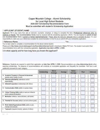 high school students scholarship recommendation form