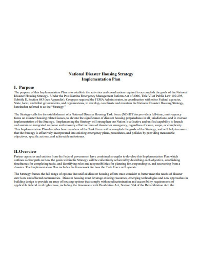housing strategy implementation plan example