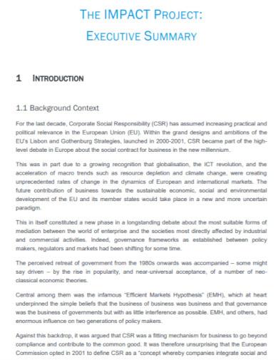 impact project executive summary
