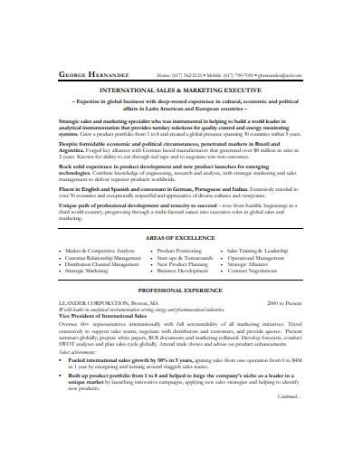 international sales and marketing resume