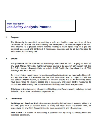 job safety analysis process template