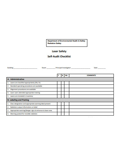 laser safety self audit checklist