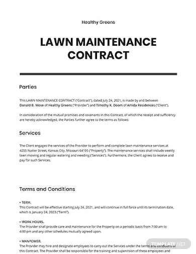 lawn maintenance contract template