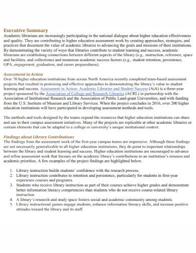 library executive summary