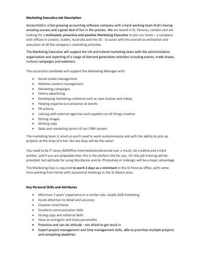 marketing executive job description format