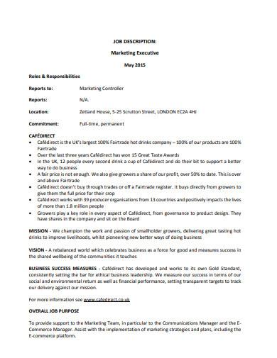 marketing executive job description sample