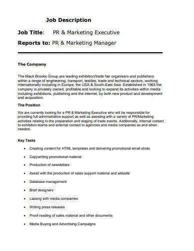 marketing executive job description