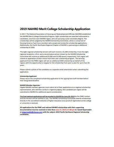 merit college scholarship application