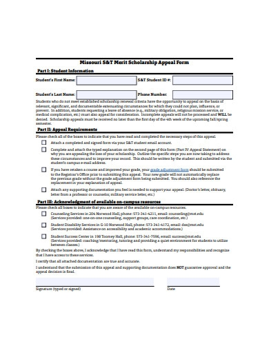 merit scholarship appeal form example