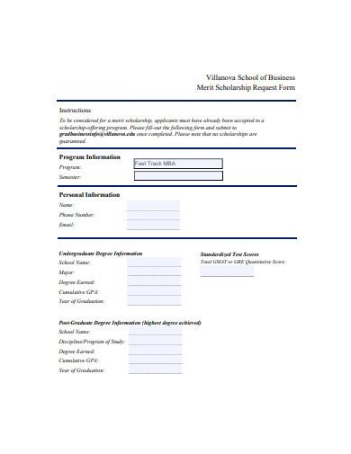 merit scholarship request form