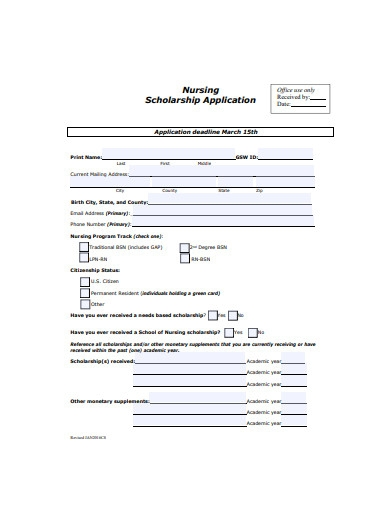 nursing scholarship application form example