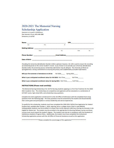 nursing scholarship application format