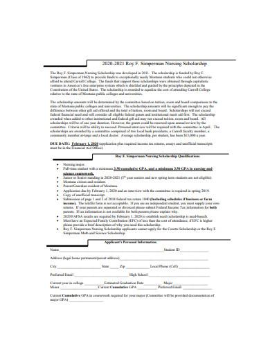 nursing scholarship format