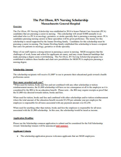 nursing scholarship program format