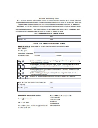 outside scholarship form sample