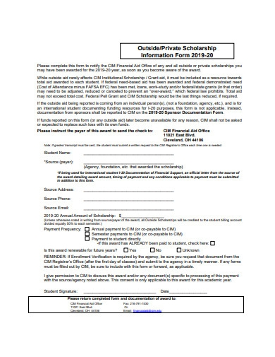 outside scholarship information form