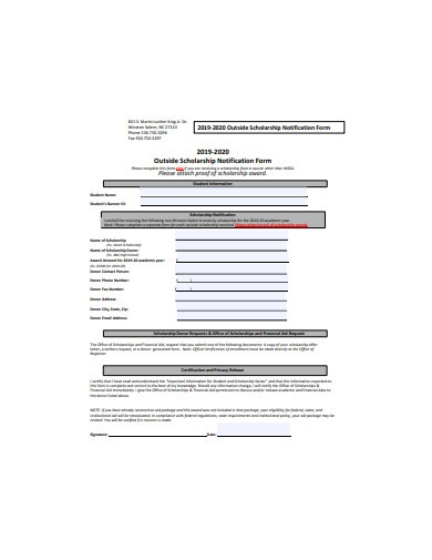 outside scholarship notification form example