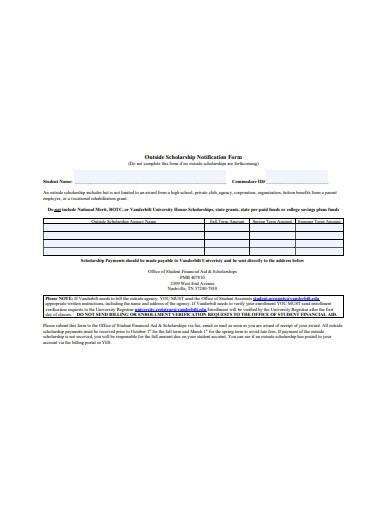 outside scholarship notification form