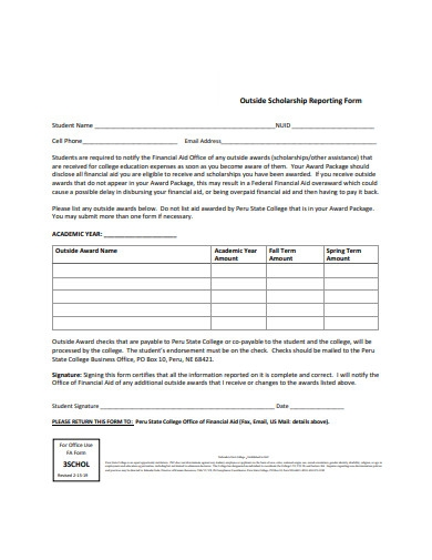 outside scholarship reporting form