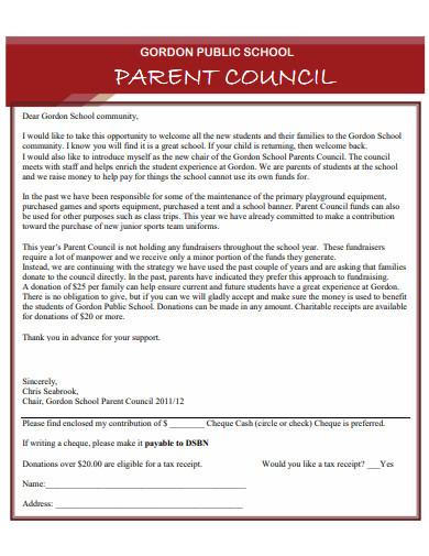 parent council donation letter for school