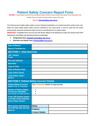 patient safety concern report form