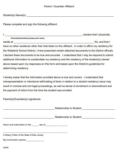 printable affidavit of guardianship