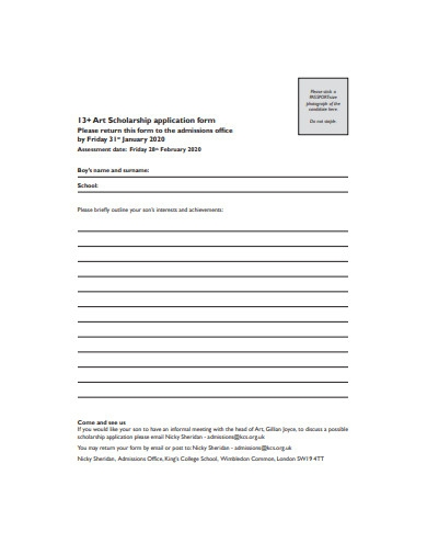 printable art scholarship application form